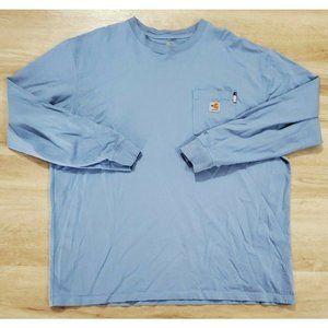 Carhartt Mens Long Sleeve Blue T-Shirt 2XL
